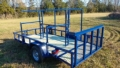 Custom racks are quickly removable transforming the trailer bak into a top of the line Lone Wolf utility trailer