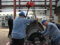 DLP Employees Prepare Steam Turbine Fan Blade Unit for Crane