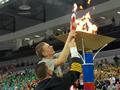 The Special Olympics torch is lit.