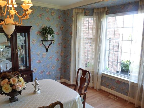 Wallpaper by York; Custom Sheer Curtains