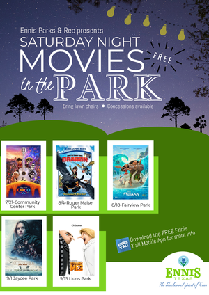 Summer 2018 Movies In The Park Schedule and Flyer