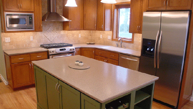 Corian Countertops cherry with custom color painted island and corian countertops