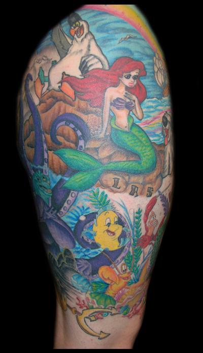 Little mermaid half sleeve tattoo the for Little mermaid tattoo sleeve