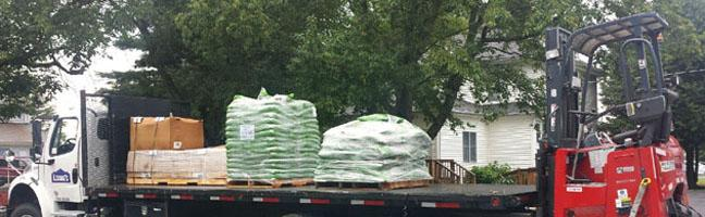 Lowes delivering playground equipment purchased by Dover Elks
