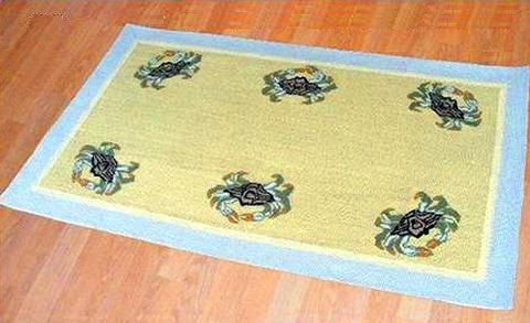 Blue Crab 3 X 5 Wool Area Rug