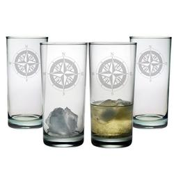 Compass Rose Highball Glasses