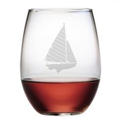 Sailboat Stemless Wine Glasses