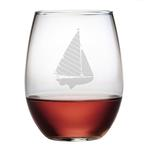 Sailboat Stemless Wine Glasses
