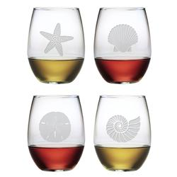 Seashore Stemless Wine Glasses