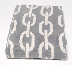Gray and White Chain Links Throw