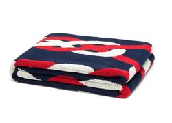 Marine Blue, Red and White Knot Throw