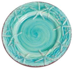 "Turquoise 9"" Raised Starfish Salad Plate"