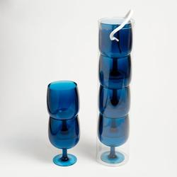 Blue Nesting Wine Glasses