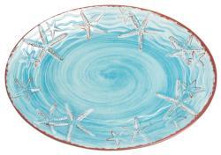 "Blue 14"" Raised Starfish Platter"