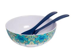 "Paisley Crab 11"" Serving Bowl with Salad Servers"
