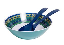"On Lake Time 11"" Serving Bowl with Salad Servers"