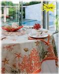 "Red Coral Tablecloth 67"" x 67"""
