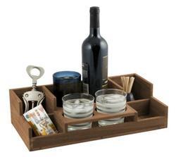 Teak Portable Bar with Drink Holder