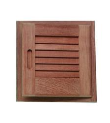 "Teak Louvered Door & Frame - 12"" x 12"""