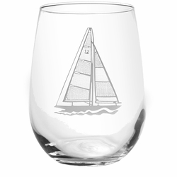 Sailboats - 15-oz. Stemless White Wine