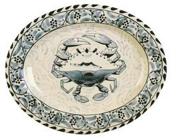"Blue Claw 15"" Oval Platter"