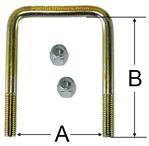 """Square Trailer U-Bolt - Zinc Plated Steel - 3 1/8"""" wide x 6 3/4"""" tall x 1/2"""" Diameter"""