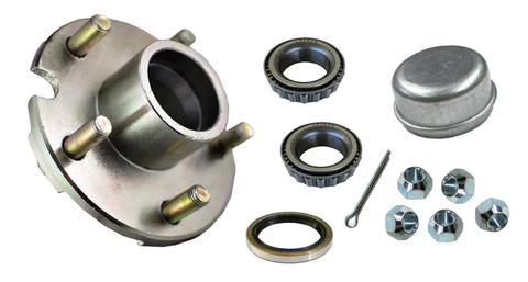 Trailer Hub Assembly - Plated - for up to 2500lb. axles 12-15 inch wheels, - L44649 Bearings - 5 on 4.5""