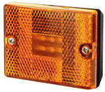 Square, Stud Mount LED Trailer Clearance/Marker Light w/Reflector - Amber