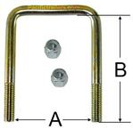 "1/2"" Square Zinc Plated Trailer U-Bolt w/lock nuts A=2 1/8"" B=6 3/4"""