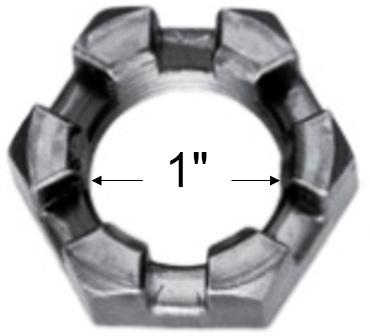 "1"" - 14, Slotted Trailer Axle Spindle Nut"