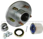 Plated Trailer Wheel Hub KIT for 3500lb. axles - L68149/L44649 Bearings - 5 on 4.5""