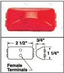 "150R 2-1/2"" x 1-1/4"" x 3/4"" Red Clearance/Marker Light"