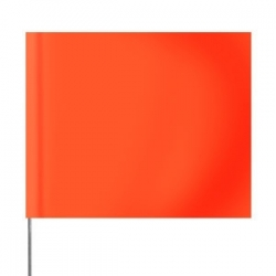 "4 x 5"" Marking Flag with 30"" Wire Staff - Color: GLO ORANGE"