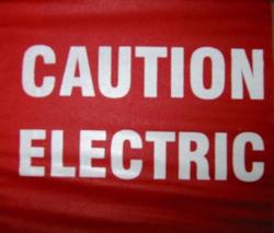 "4 x 5"" Marking Flag with 24"" Wire Staff - Color: RED with ""CAUTION ELECTRIC"""