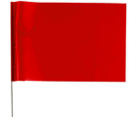 "4 x 5"" Marking Flag with 30"" Wire Staff - Color: RED"