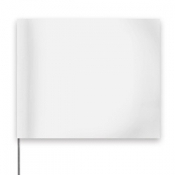 """4 x 5"""" Marking Flag with 30"""" Wire Staff - Color: WHITE"""