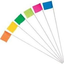 "2 x 3"" Marking Flag with 21"" Wire Staff - Color: GLO LIME"