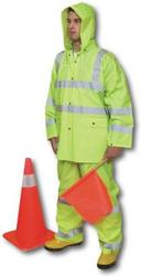 ANSI Class 3 Three Piece PVC Rainsuit (X-Large)