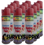 Aervoe Survey Marking Paint Case (12 cans) - Color: RED (#201)
