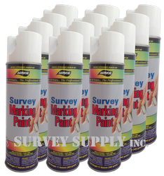 Aervoe Survey Marking Paint Case (12 cans) - Color: WHITE (#207)