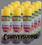 Aervoe Survey Marking Paint Case (12 cans) - Color: FLO. YELLOW (#226)