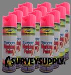 Aervoe Survey Marking Paint Case (12 cans) - Color: FLO. PINK (#229)