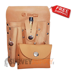 SitePro Saddle Leather Surveyors Tool Pouch 7-Pocket (#51-10107)