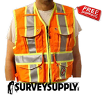 The Party Chief Heavy-Duty Survey Vest - Class 2 - Safety Orange (#PC15X)