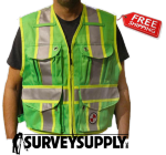 The Party Chief Heavy-Duty Survey Vest - Class 2 - Lime Green (#PC15X)