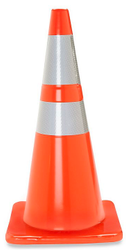 "28"" Traffic Cone w/ 6"" and 4"" Reflective Collars - 7 lb. - Orange"