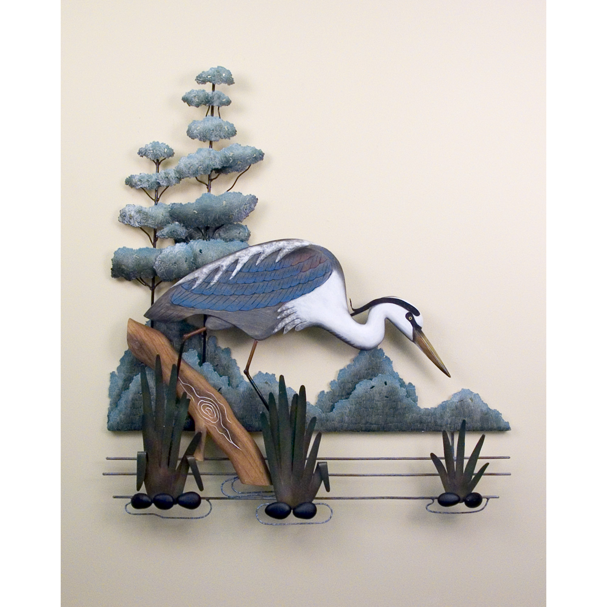 Blue Metal Wall Decor Fair Stalking Great Blue Heron Wall Art Birds Shore Tropical Decorating Inspiration