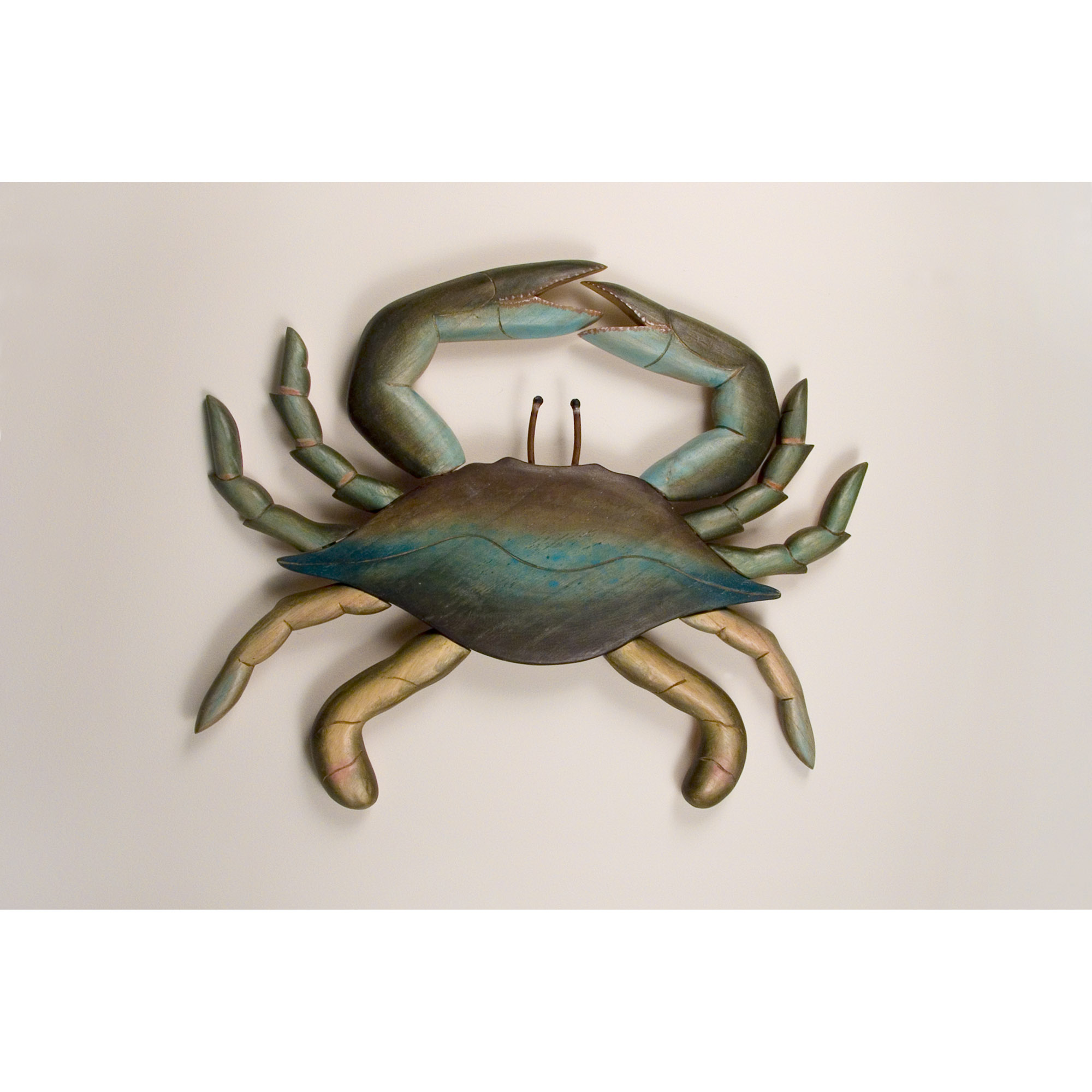 Wooden Wall Hangings blue crab, medium, wall art, wood, hand carved, wall hanging