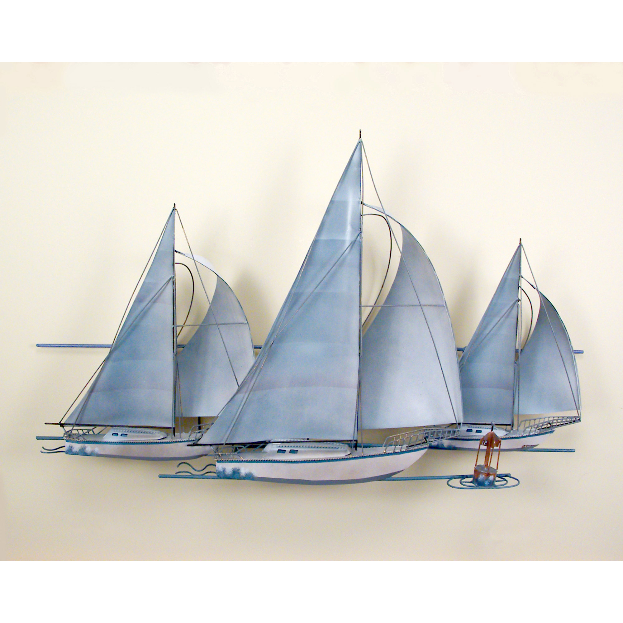 At the races three sail boats race wall art wall hanging for Decoration yacht
