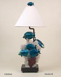 School of Blue Tangs Lamp